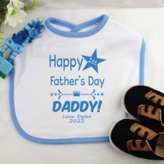 Personalised 1st Father's Day Baby Boy Bib