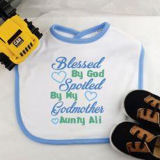 Personalised Godmother Baby Boy Bib- Blue