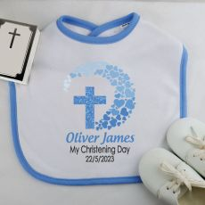 Personalised Baby Boy Christening Bib