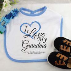 Personalised I Love My Grandma Baby Boy Bib - Blue