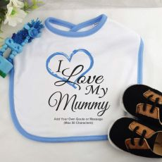Personalised I Love My Mum Baby Boy Bib - Blue