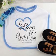 I Love My Uncle Baby Boy Bib - Blue