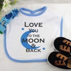 Love You To The Moon Baby Boy Bib - Blue