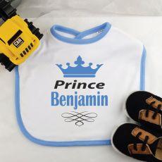 Personalised Prince Baby Boy Bib - Blue