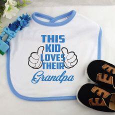 This Kid Loves Their Grandpa Baby Boy Bib - Blue