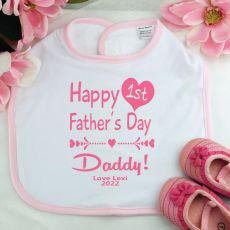 Personalised 1st Fathers Day Baby Girl Bib