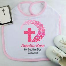 Personlised Baby Girl Baptism Bib - Pink