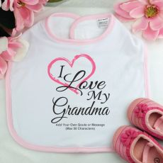 Personalised I Love My Grandma Baby Girl Bib - Pink