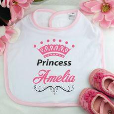 Personalised Princess Baby Girl Bib - Pink
