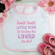Twinkle Twinkle Baby Girl Bib- Pink