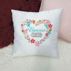 Personalised Cushion Cover - Floral Heart