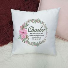 Personalised Cushion Cover - Pansy Wreath