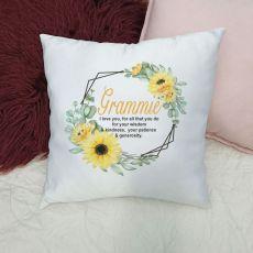 Personalised Grandma Cushion Cover - Sunflower