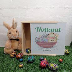 Personalised Easter Box Medium White Lid - Basket Bunnies