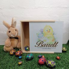 Personalised Easter Box Medium White Lid  - Easter Chicken