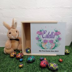 Personalised Easter Box Medium White Lid - Easter Rose
