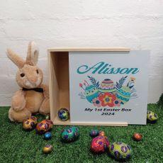 Personalised Easter Box Medium White Lid - Floral Eggs