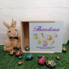 Personalised Easter Box Medium White Lid - Hanging Eggs