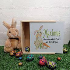 Personalised Easter Box Medium White Lid- Rabbit Carrot