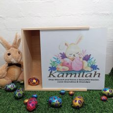 Personalised Family Easter Box White Lid - Sleeping Bunny