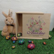 Wooden Easter Box Medium - Butterfly Bunny
