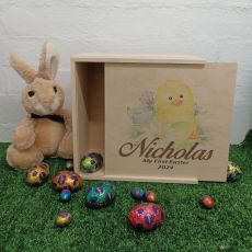 Personalised Wooden Easter Box Medium - Easter Chicken