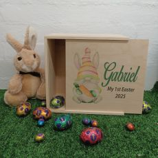 Personalised Wooden Easter Box Medium - Easter Gnome