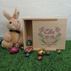 Personalised Wooden Easter Box Small - Easter Rose