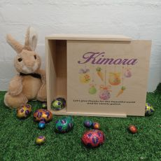 Personalised Wooden Easter Box Medium - Hanging Eggs