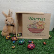 Personalised Easter Box Medium Wood - Basket Bunnies