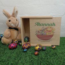 Personalised Easter Box Small Wood - Basket Bunnies