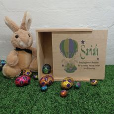 Personalised Easter Box Small Wood - Air Balloon