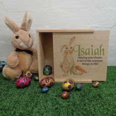 Personalised Easter Box Small Wood - Rabbit Carrot