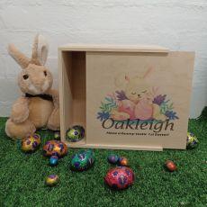 Personalised Easter Box Medium Wood - Sleeping Bunny