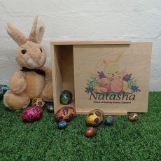 Personalised Easter Box Small Wood - Sleeping Bunny