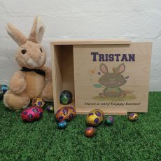 Personalised Easter Box Small Wood - Tribal Bunny