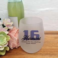 16th Birthday Stemless Wine Glass 500ml