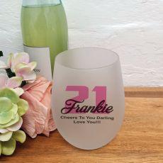 21st Birthday Stemless Wine Glass 500ml