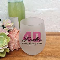 40th Birthday Stemless Wine Glass 500ml