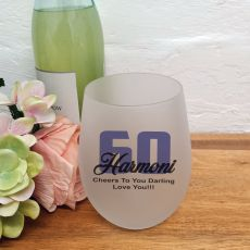 60th Birthday Stemless Wine Glass 500ml
