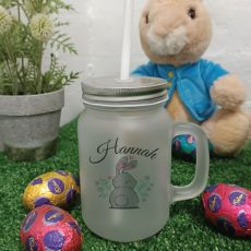 Easter Mason Drink Jar w/straw - Cotton Tail