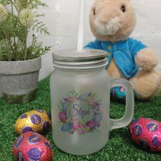 Easter Mason Drink Jar w/straw - Pink Eggs