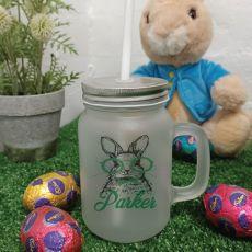 Easter Mason Drink Jar Mug w/straw - Glasses Rabbit