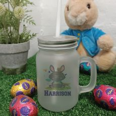 Easter Mason Drink Jar Mug w/straw - Tribal Bunny