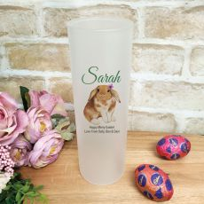 Personalised Easter Frosted Glass Vase - Bunny