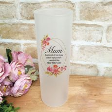 Mum  Frosted Glass Vase - Buttercup