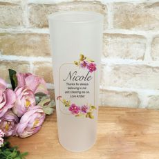Personalised Frosted Glass Vase - Pink Pansy