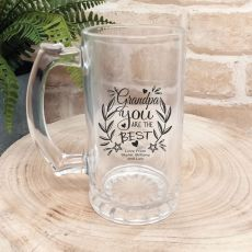 Grandpa Personalised Glass Beer Stein