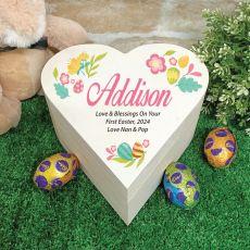 Wooden Easter Heart Box - Coloured Eggs