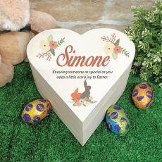 Wooden Easter Heart Box - Vintage Rabbit